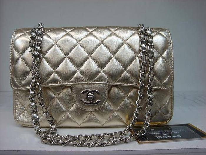 Quality Replica Chanel Classic 2.55 Gold Lambskin Leather With Silver Hardware