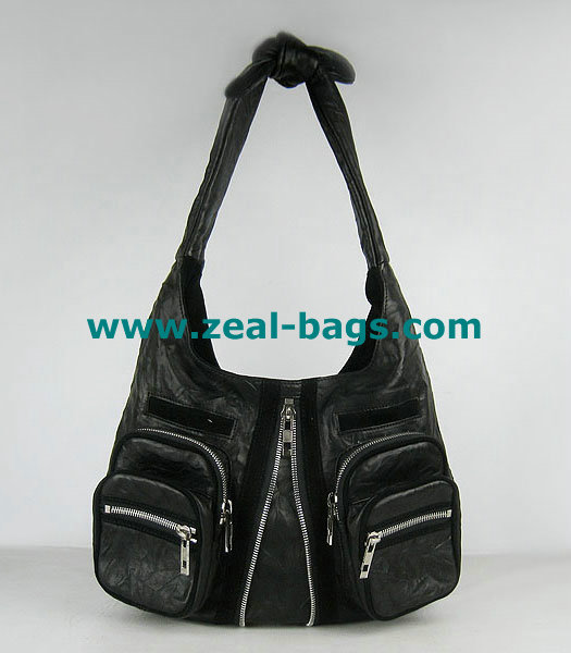 AAA Replica Alexander Wang Donna Hobo Should Bag Black Lambskin