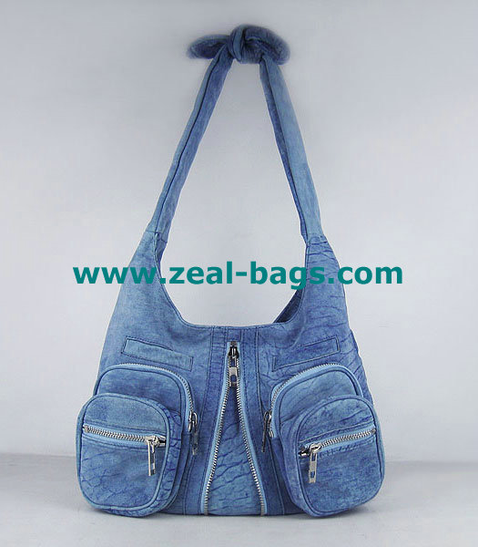AAA Replica Alexander Wang Donna Hobo Should Bag Blue Lambskin