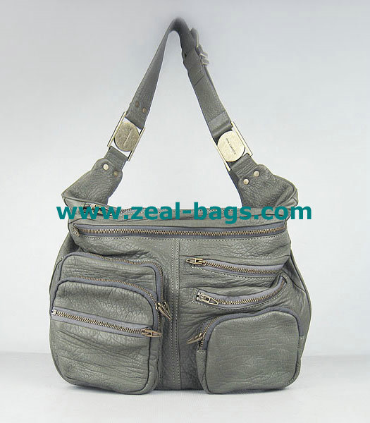 AAA Replica Alexander Wang Max Fanny Pack Bag Silver Grey Lambskin Golden Metal