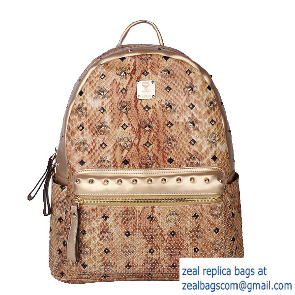 High Quality Replica Hot Sale MCM Armour Medium Backpack Snake Leather MC2095 Gold
