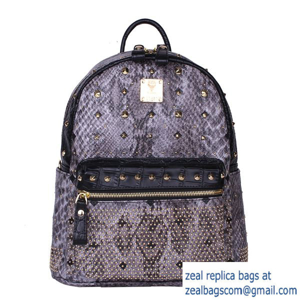 High Quality Replica Hot Sale MCM Armour Small Backpack Snake Leather MC2095S Grey