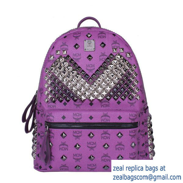 High Quality Replica Hot Sale MCM Medium Stark Front Studs Backpack MC4237 Purple