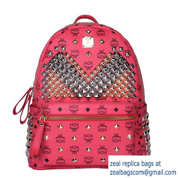 High Quality Replica Hot Sale MCM Medium Stark Front Studs Backpack MC4237 Red