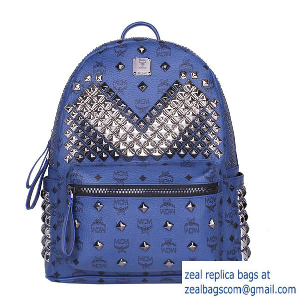 High Quality Replica Hot Sale MCM Medium Stark Front Studs Backpack MC4237 Royal