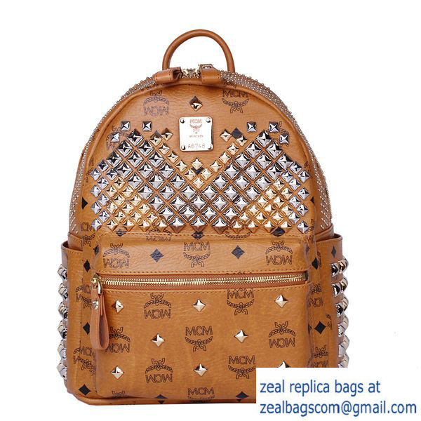 High Quality Replica Hot Sale MCM Small Stark Front Studs Backpack MC4237S Wheat
