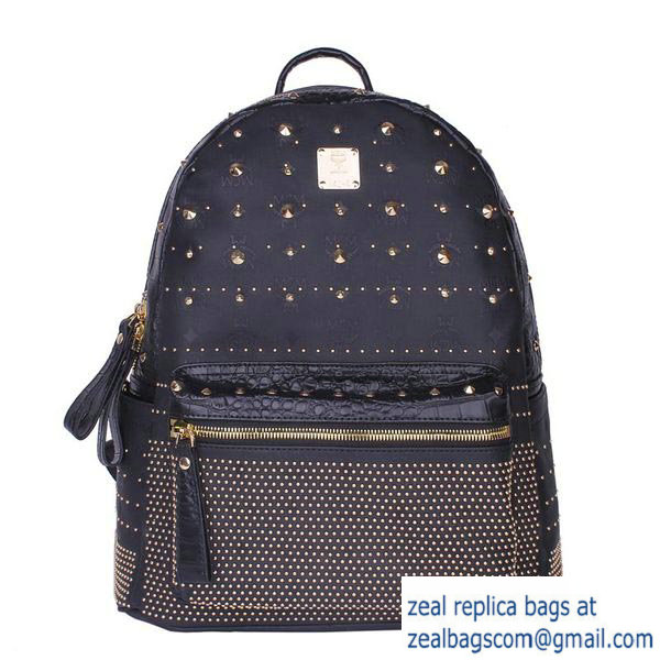 High Quality Replica MCM Armour Medium Backpack Snake Leather MC2095 Black