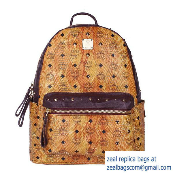 High Quality Replica MCM Armour Medium Backpack Snake Leather MC2095 Wheat