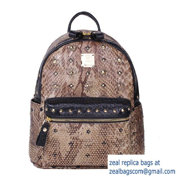 High Quality Replica MCM Armour Small Backpack Snake Leather MC2095S Brown