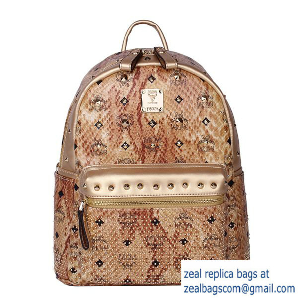 High Quality Replica MCM Armour Small Backpack Snake Leather MC2095S Gold