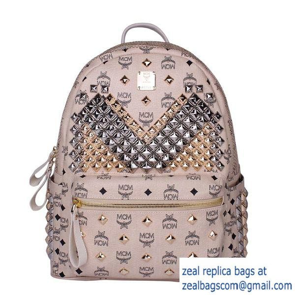 High Quality Replica MCM Medium Stark Front Studs Backpack MC4237 Beige