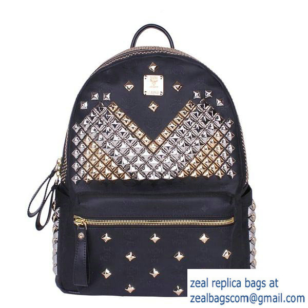 High Quality Replica MCM Medium Stark Front Studs Backpack MC4237 Black