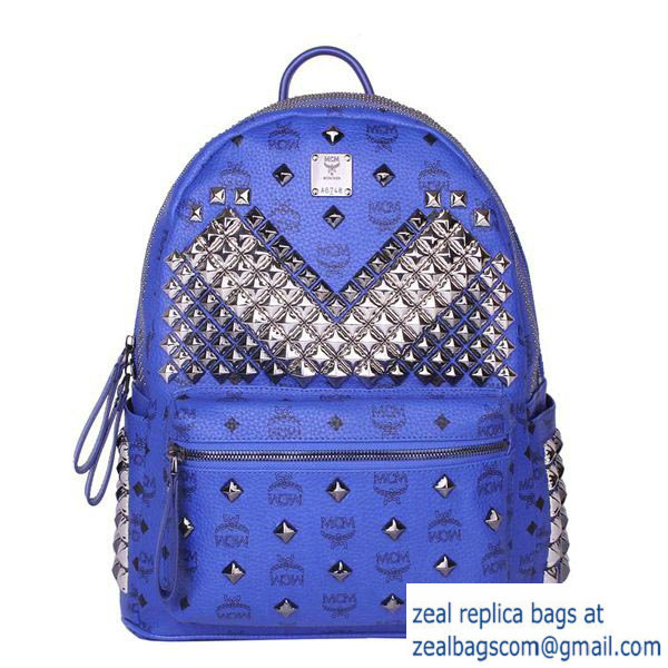 High Quality Replica MCM Medium Stark Front Studs Backpack MC4237 Blue