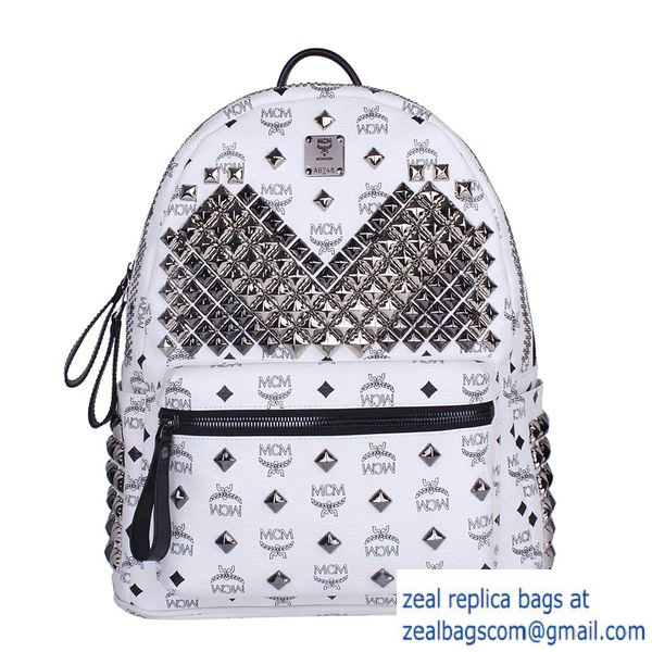High Quality Replica MCM Medium Stark Front Studs Backpack MC4237 White