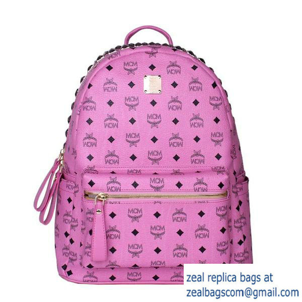 High Quality Replica MCM Medium Top Studs Backpack MC4232 Rosy