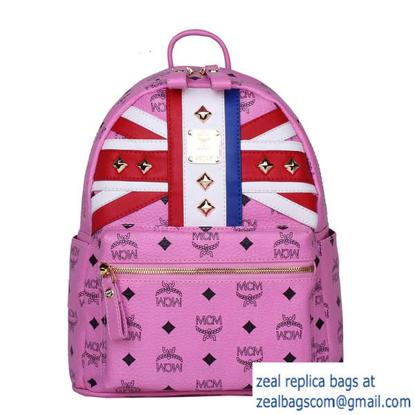High Quality Replica MCM Small Flag of UK Backpack MC5173S Rosy