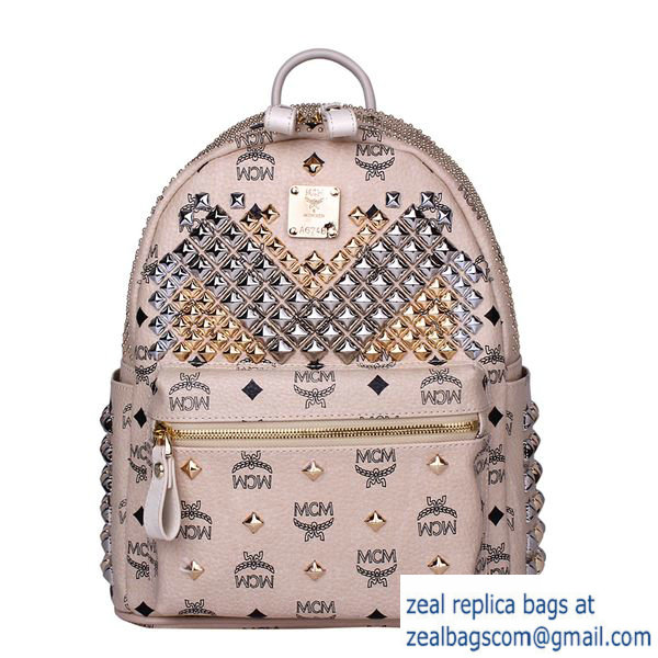 High Quality Replica MCM Small Stark Front Studs Backpack MC4237S Beige