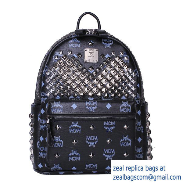 High Quality Replica MCM Small Stark Front Studs Backpack MC4237S Black
