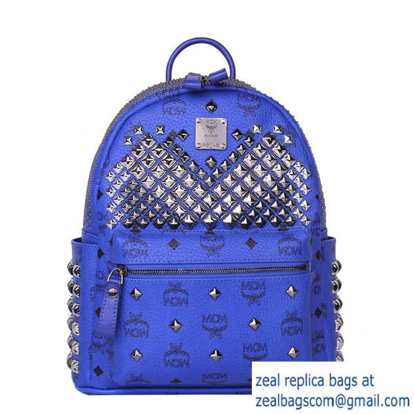 High Quality Replica MCM Small Stark Front Studs Backpack MC4237S Blue