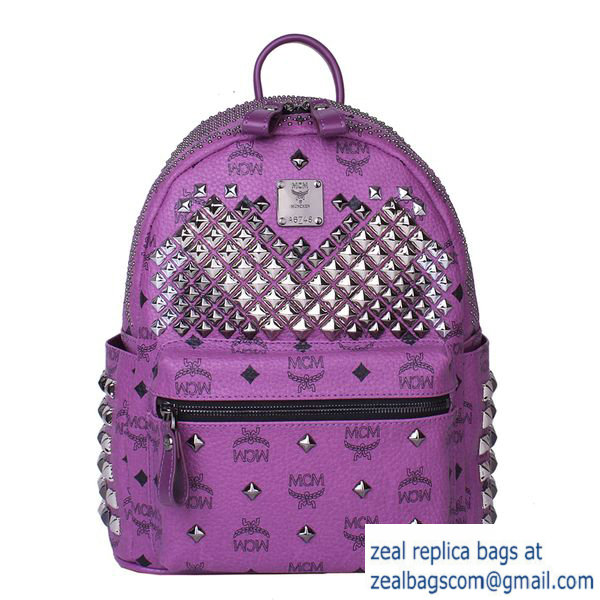 High Quality Replica MCM Small Stark Front Studs Backpack MC4237S Purple