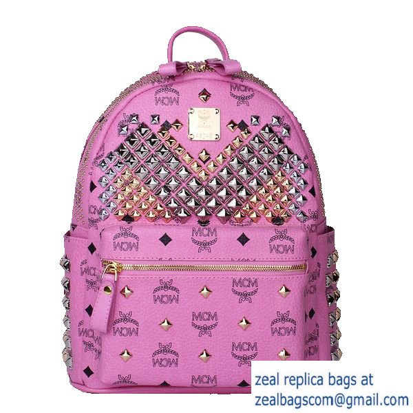 High Quality Replica MCM Small Stark Front Studs Backpack MC4237S Rosy