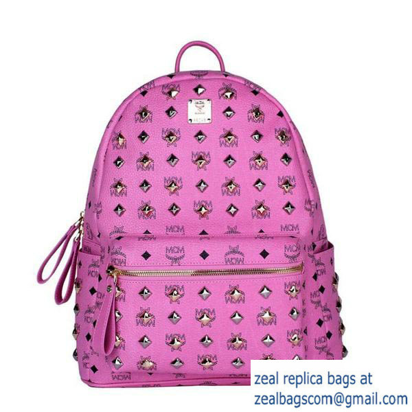 High Quality Replica MCM Stark Studded Medium Backpack MC2089 Rosy