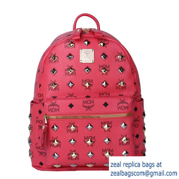High Quality Replica MCM Stark Studded Small Backpack MC2089S Light Red