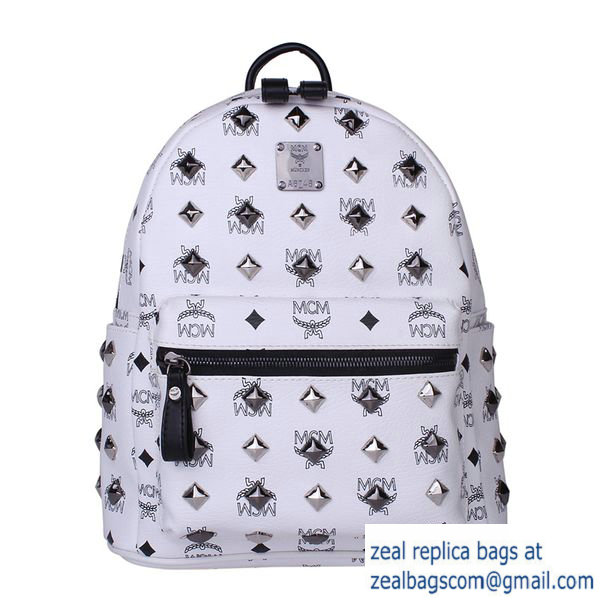 High Quality Replica MCM Stark Studded Small Backpack MC2089S White