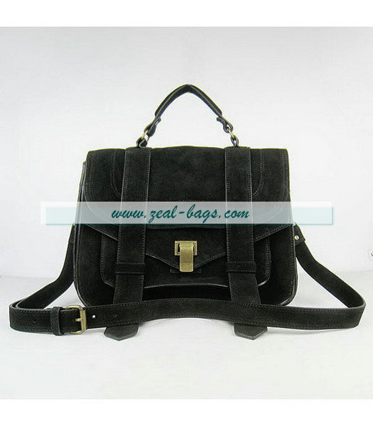 Knockoff Proenza Schouler Suede PS1 Satchel Bag in Black Cow Suede Leather