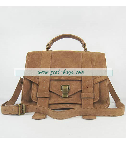 Knockoff Proenza Schouler Suede PS1 Satchel Bag in Brown Cow Suede Leather