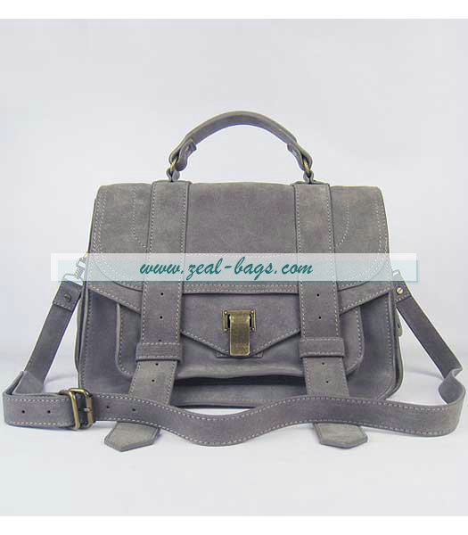 Knockoff Proenza Schouler Suede PS1 Satchel Bag in Grey Cow Suede Leather