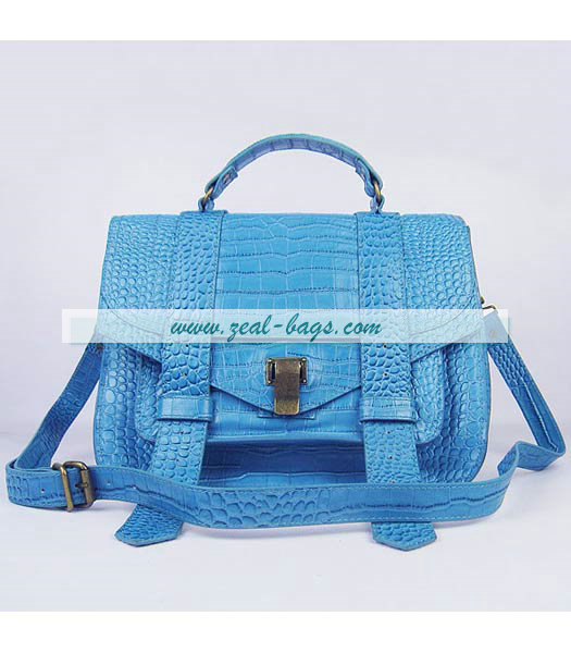 Knockoff Proenza Schouler Suede PS1 Satchel Bag in Light Blue Croc Veins