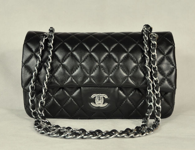 AAA Chanel Classic Flap Bag 1112 Black Leather Silver Hardware