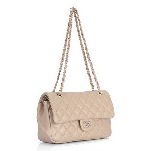 Cheap Replica Chanel Classic 2.55 Series Flap Bag 1112 Apricot Leather Golden Hardware