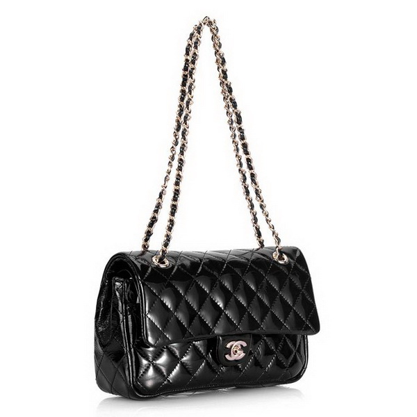 Cheap Replica Chanel Classic 2.55 Series Flap Bag 1112 Black Patent Leather Golden Hardware