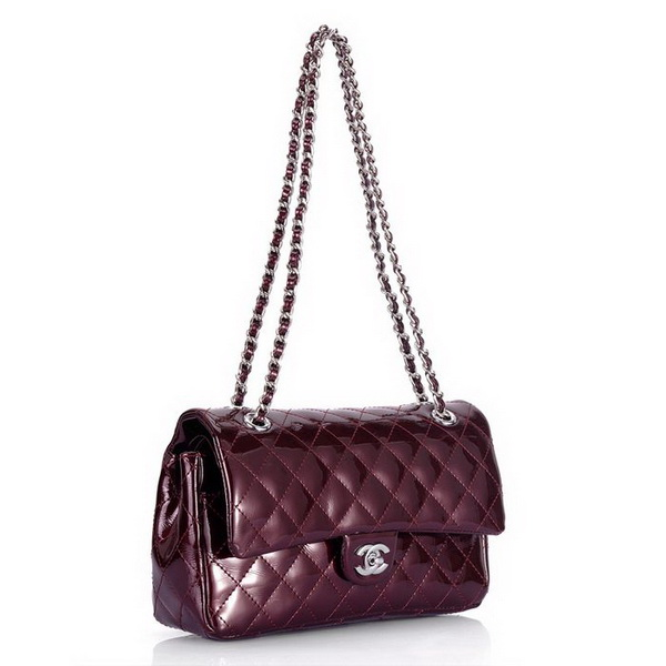 Cheap Replica Chanel Classic 2.55 Series Flap Bag 1112 Dark Red Leather Silver Handware