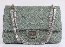 High Quality Knockoff Chanel 2.55 Series Quilted Flap Bag Ancient-Green Leather with Silver Hardware