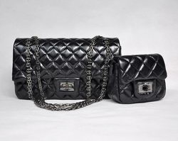 7A Fake Chanel 2.55 Flap Bag Quilted Black Leather with Silver-Gray Meta