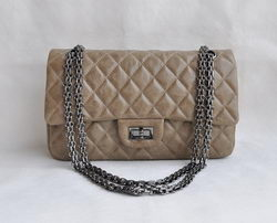 7A Fake Chanel 2.55 Flap Bag Quilted Gray Leather with Silver-Gray Metal