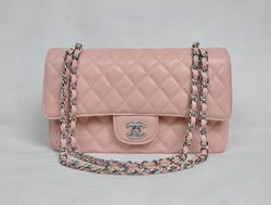 7A Fake Chanel 2.55 Quilted Flap Bag 1112 Pink with Silver Hardware