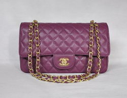 7A Fake Chanel 2.55 Quilted Flap Bag 1112 Purple with Gold Hardware