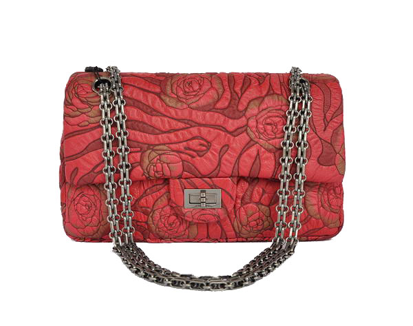 7A Fake Chanel 2.55 Rose Flap Bag 4770 Red Silver Hardware