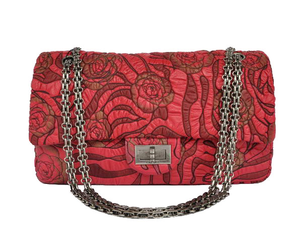 7A Fake Chanel 2.55 Rose Flap Bag 4771 Red Silver Hardware