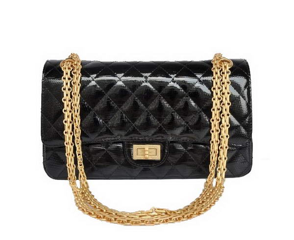 Replica 2012 Chanel 2.55 Series 1122 Classic Black Lizardskin Flap Bag Gold Hardware Outlet