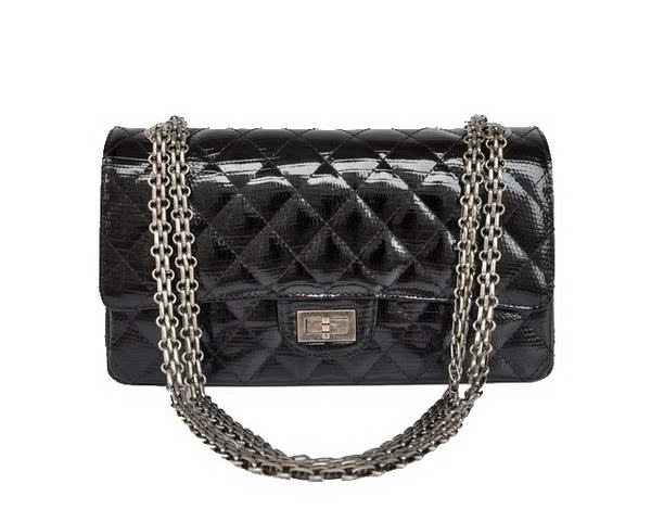 Replica 2012 Chanel 2.55 Series 1122 Classic Black Lizardskin Flap Bag Silver Hardware Outlet