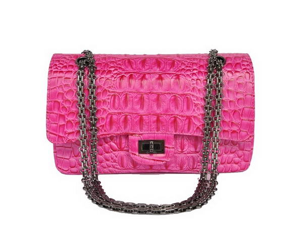 Replica 2012 Chanel 2.55 Series 1122 Classic Peach Lizardskin Flap Bag Silver Hardware Outlet