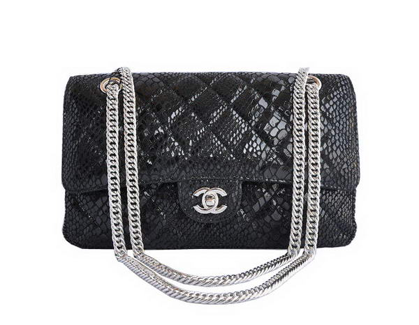 7A Fake Chanel 2.55 Series Black Snakeskin Leather Flap Bag Silver Hardware