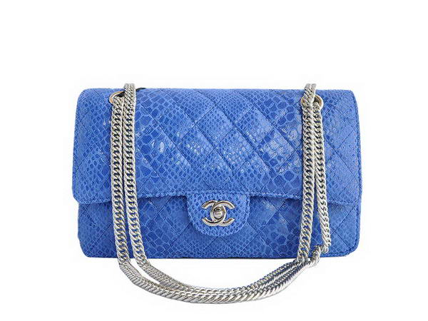High Quality Knockoff Chanel 2.55 Series Blue Snakeskin Leather Flap Bag Silver Hardware