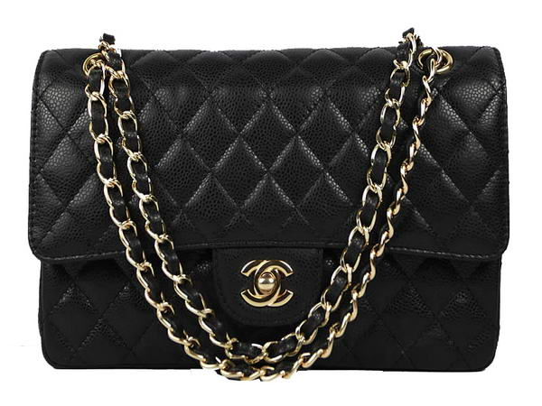 High Quality Knockoff Chanel 2.55 Series Caviar Leather Flap Bag A01112 Black Golden