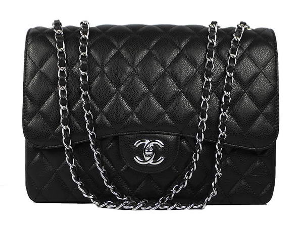 High Quality Knockoff Chanel 2.55 Series Caviar Leather Large Flap Bag A36070 Black